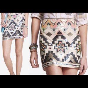 Express cream mini skirt size L